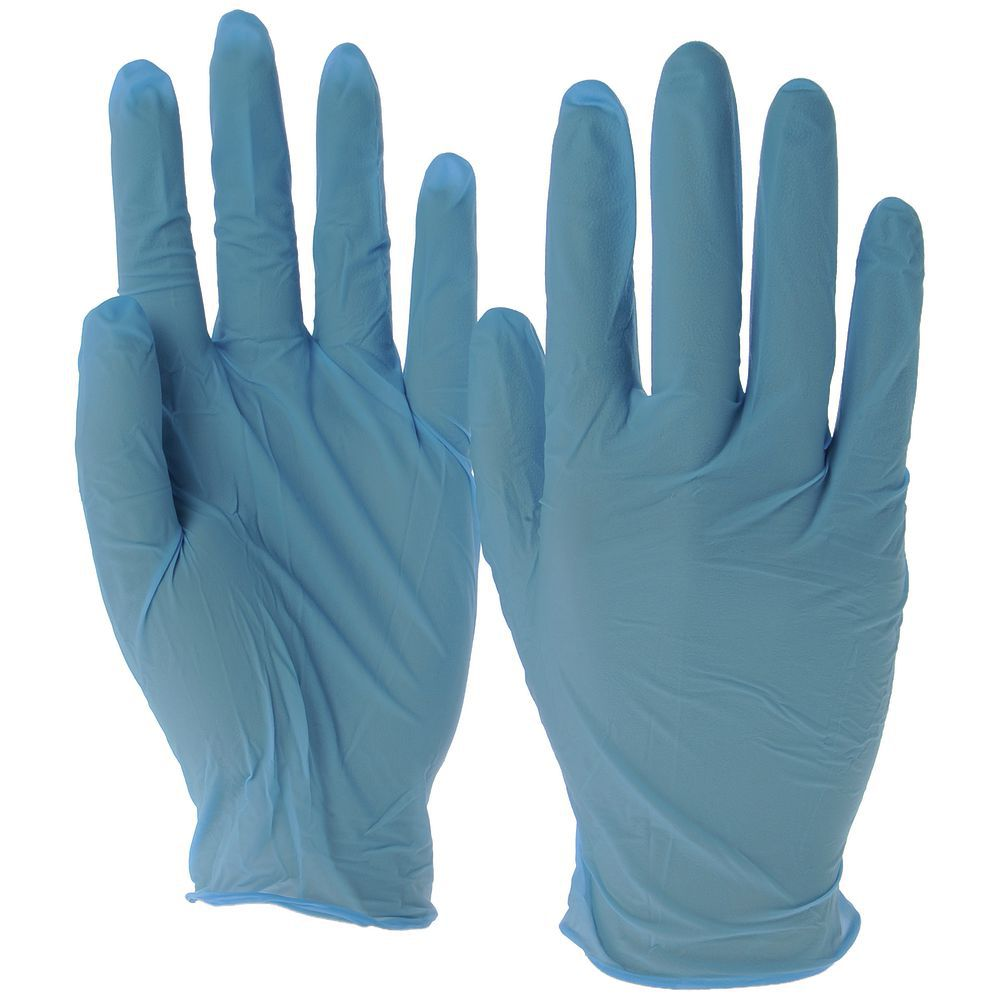 Blue Nitrile Disposable Gloves Powder Free 5 Mil Textured XLarge
