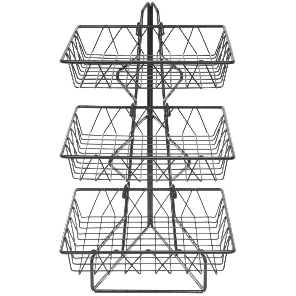 Cal-Mil Black Wire 3-Tier Countertop Basket Stand With 12\