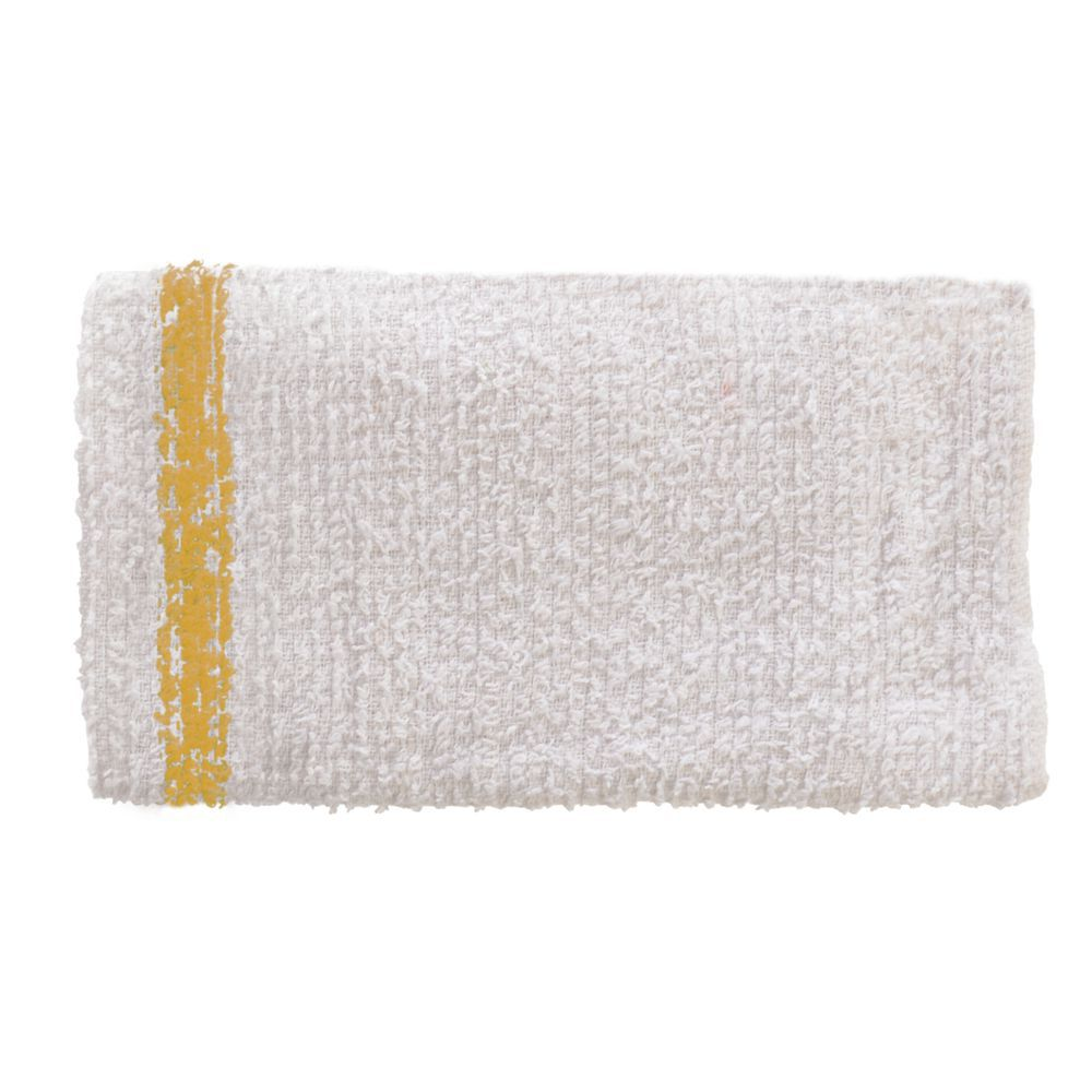 TOWEL, BAR, COTTON, GOLD STRIPE, PK/12