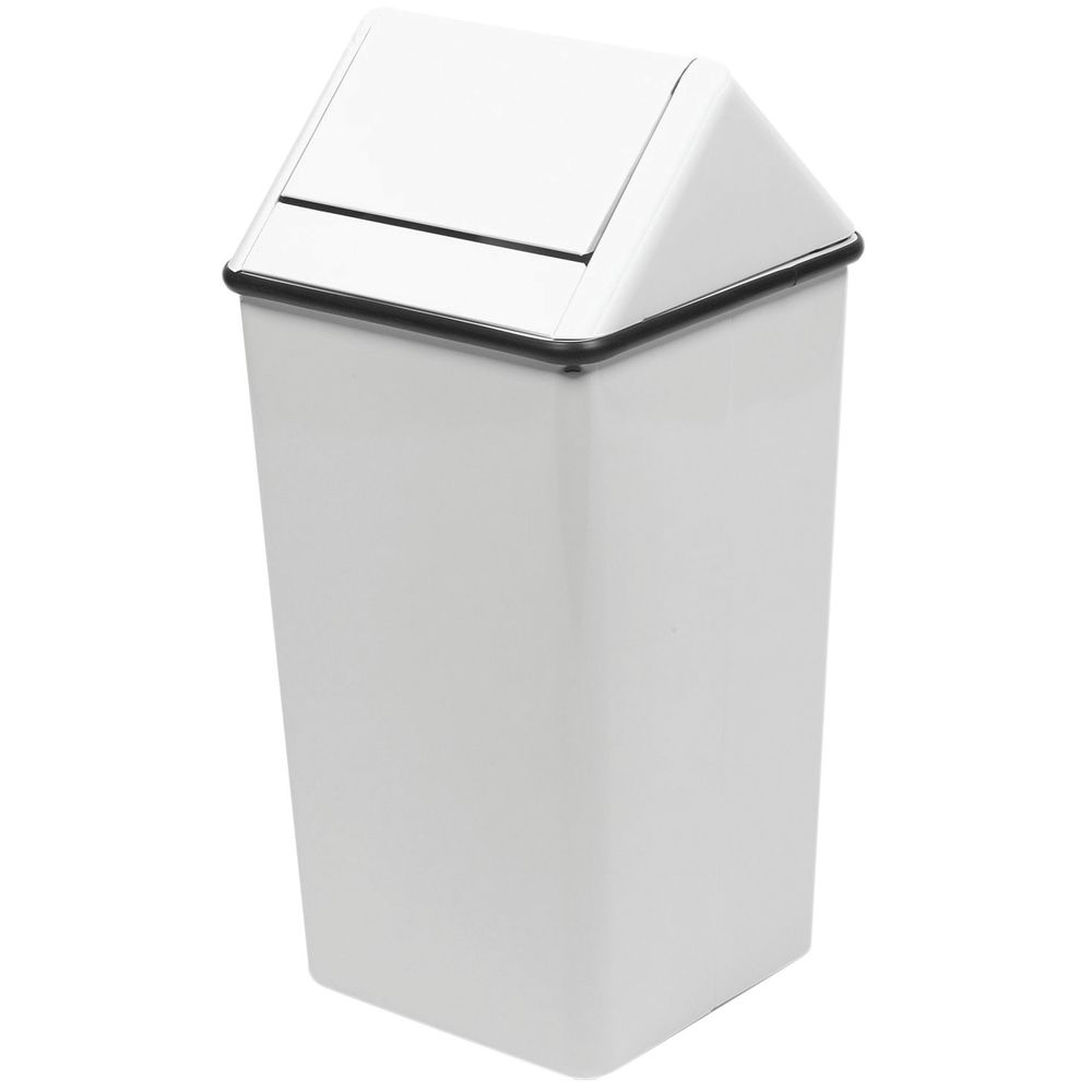 Witt 36 gal White Steel Swing-Top Trash Receptacle - 18\