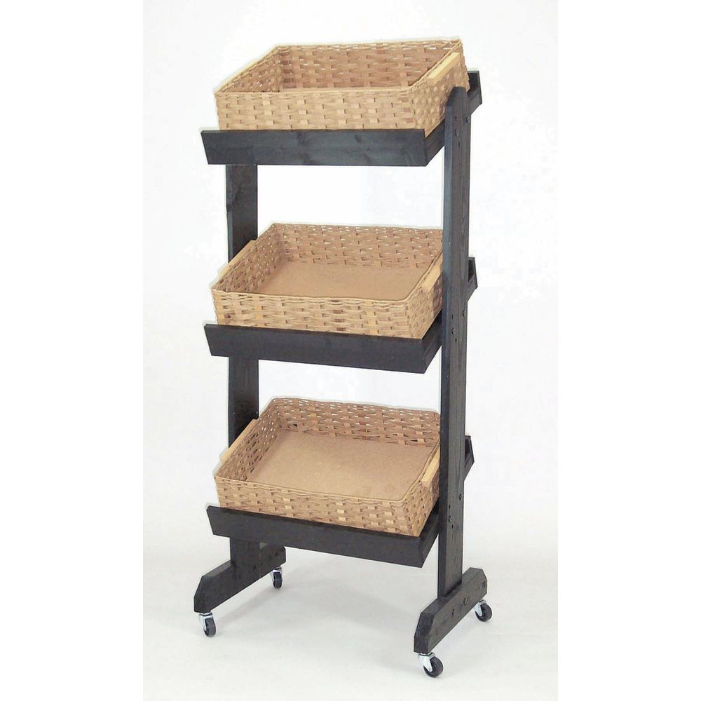 Exhibition Stand Wood : Wooden black basket tray display stand quot l