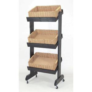 RACK, 3-BASKET, FLOOR, BLACK WOOD W/WICKER