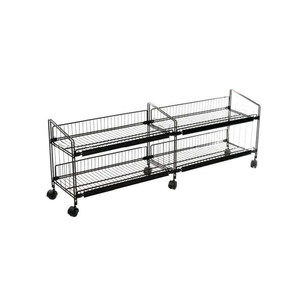 mobile merchandisers double wide black wire display bunk 54 l x 12