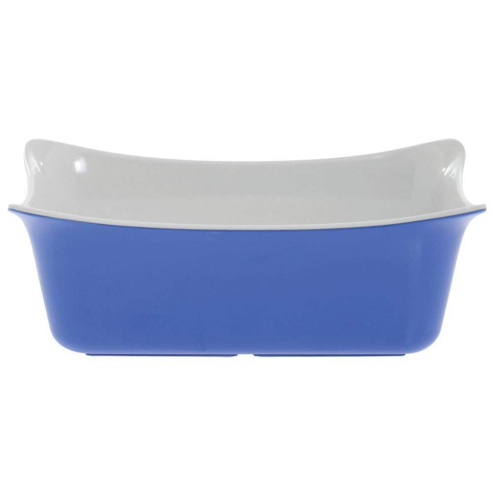 Melamine Square Bowl Is Blue With A White Interior Finish