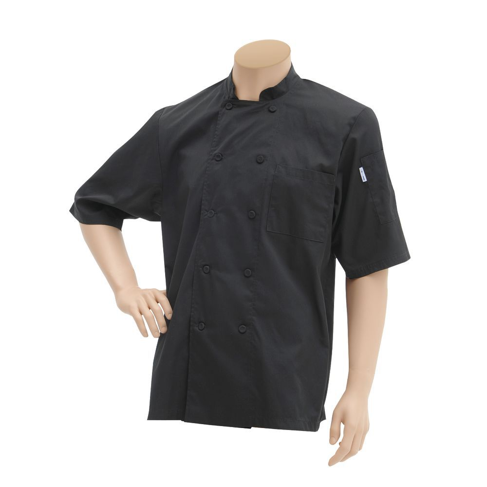 COAT, CHEF, SHRT SLV, COOLVENT, LARGE, BLACK