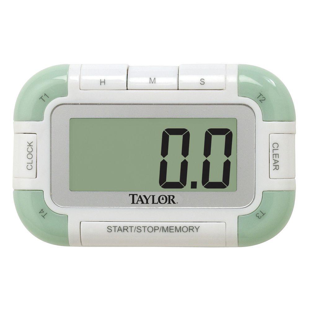 Taylor White Plastic Four Event Digital Kitchen Timer - 3 1/2\