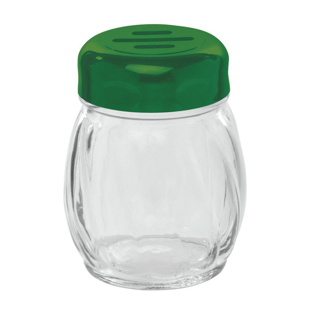 SHAKER, GLASS, SLOT PLSTC TOP, 6 OZ, GREEN