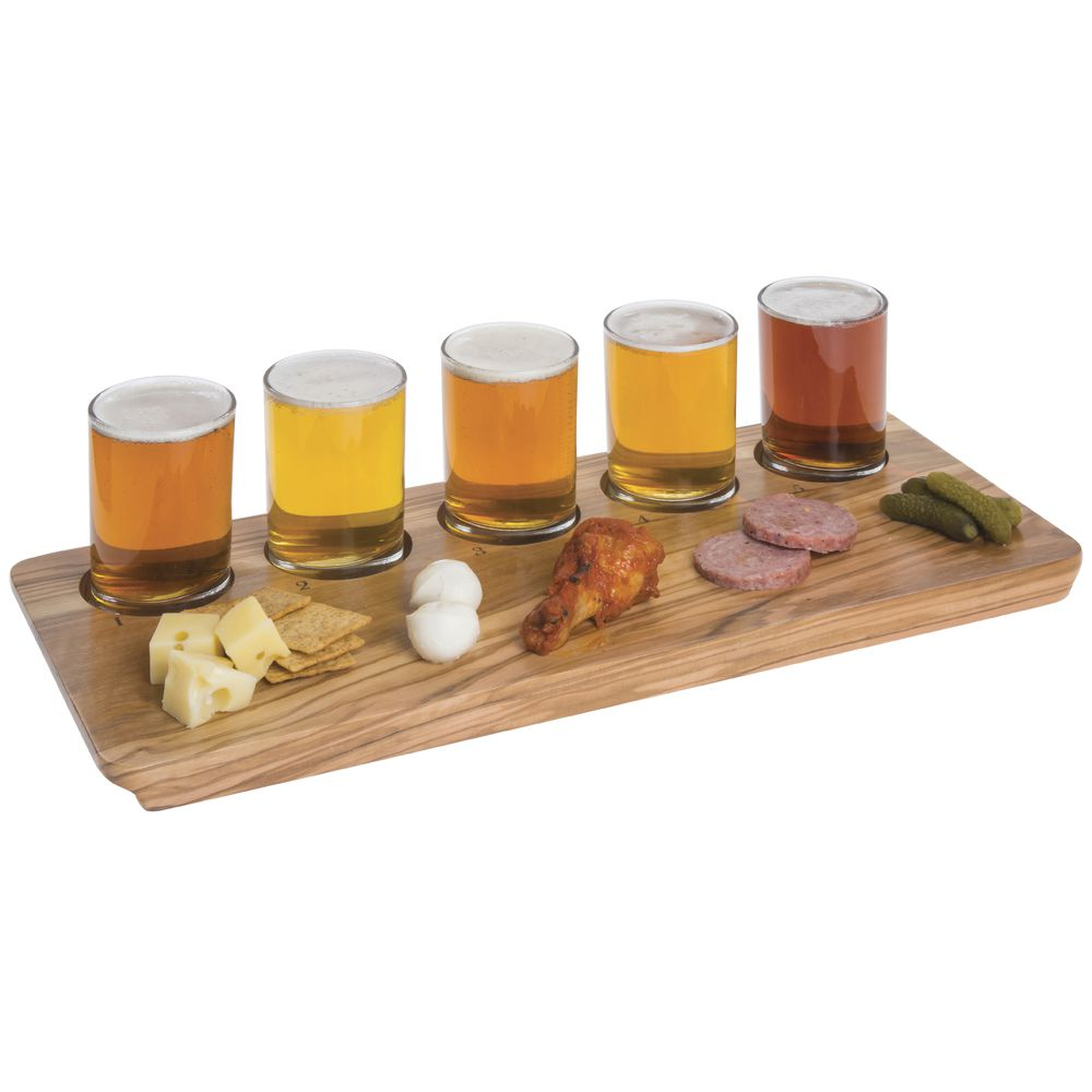 BOARD, SERVING/FLIGHT, 5 WELL, OLIVE WOOD