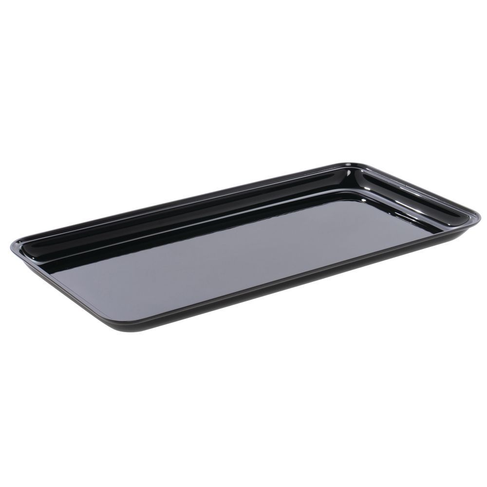 "Delfin Black Acrylic Food Tray 19 1/2""L x 10""W x 1""H"