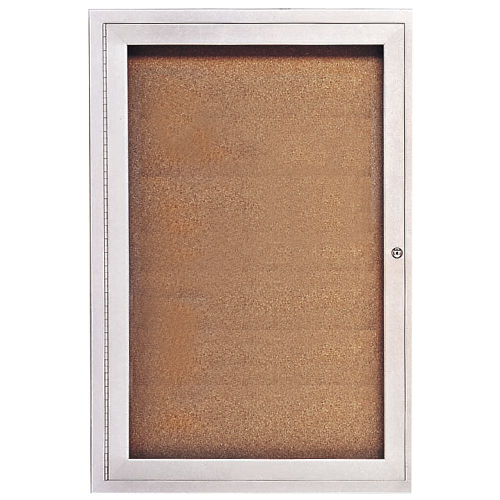 United Visual Aluminum Indoor Enclosed Bulletin Board 2 Door 48l X 36h