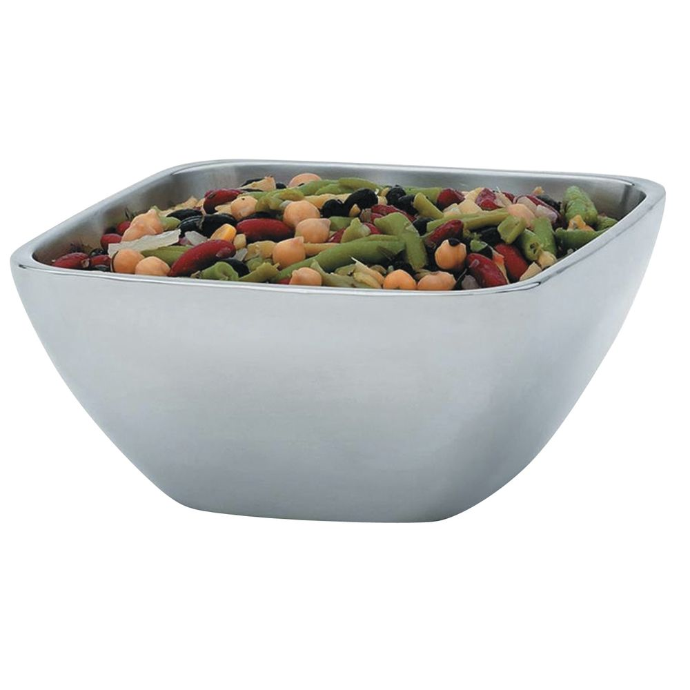 "Vollrath Double Wall Square Serving Bowl 1.8 qt Capacity Stainless Steel 7 1/4""L x 7 1/4""W x 3 1/2""H"