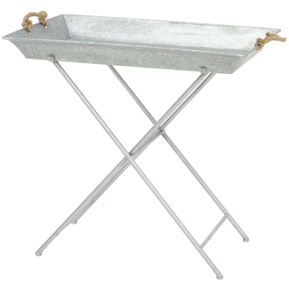 TRAY, RECTANGLE, ROPE HANDLED, W/STAND