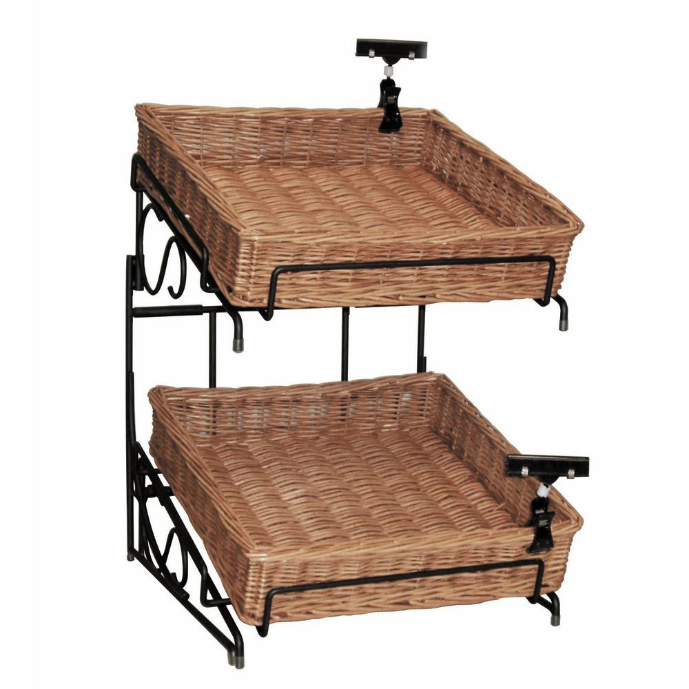 Slanted Wicker Basket Stand for Better Visibility |Wicker Basket Stand Mezzanine Top