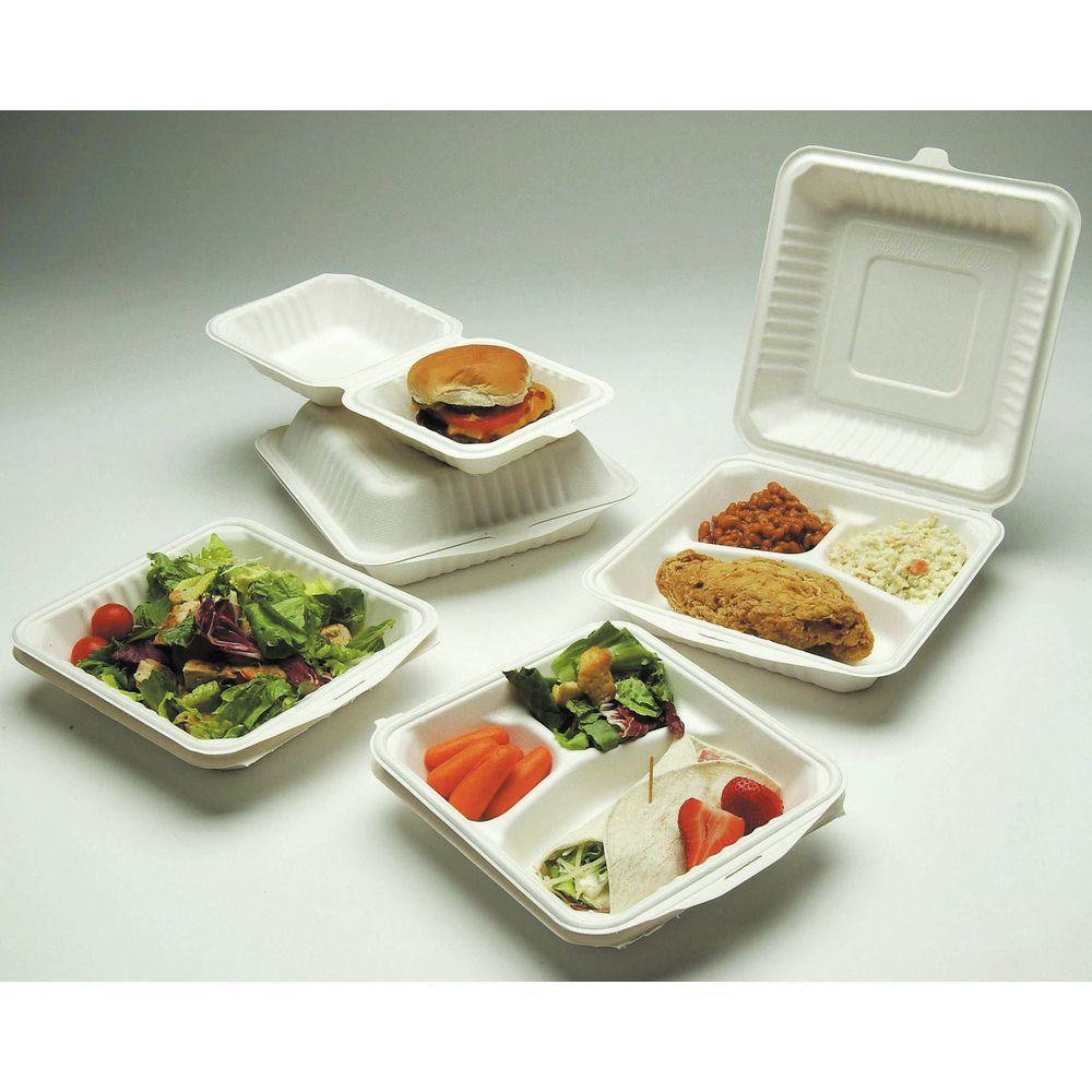 White Molded Fiber 3 Compartment Clamshell Containers 8L x 8W x 3H