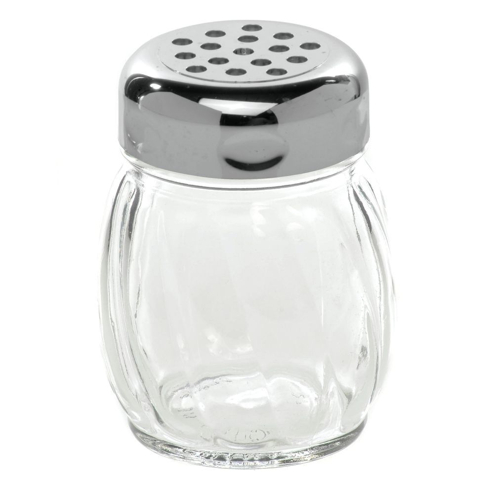 SHAKER, GLASS, PERF, PLSTIC TOP, 6 OZ, CHROME