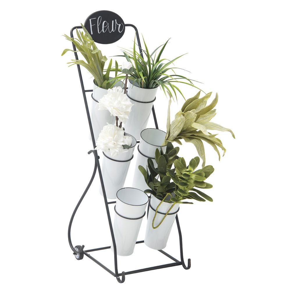 White Metal Flower Cart With Buckets 15l X 19d X 51h