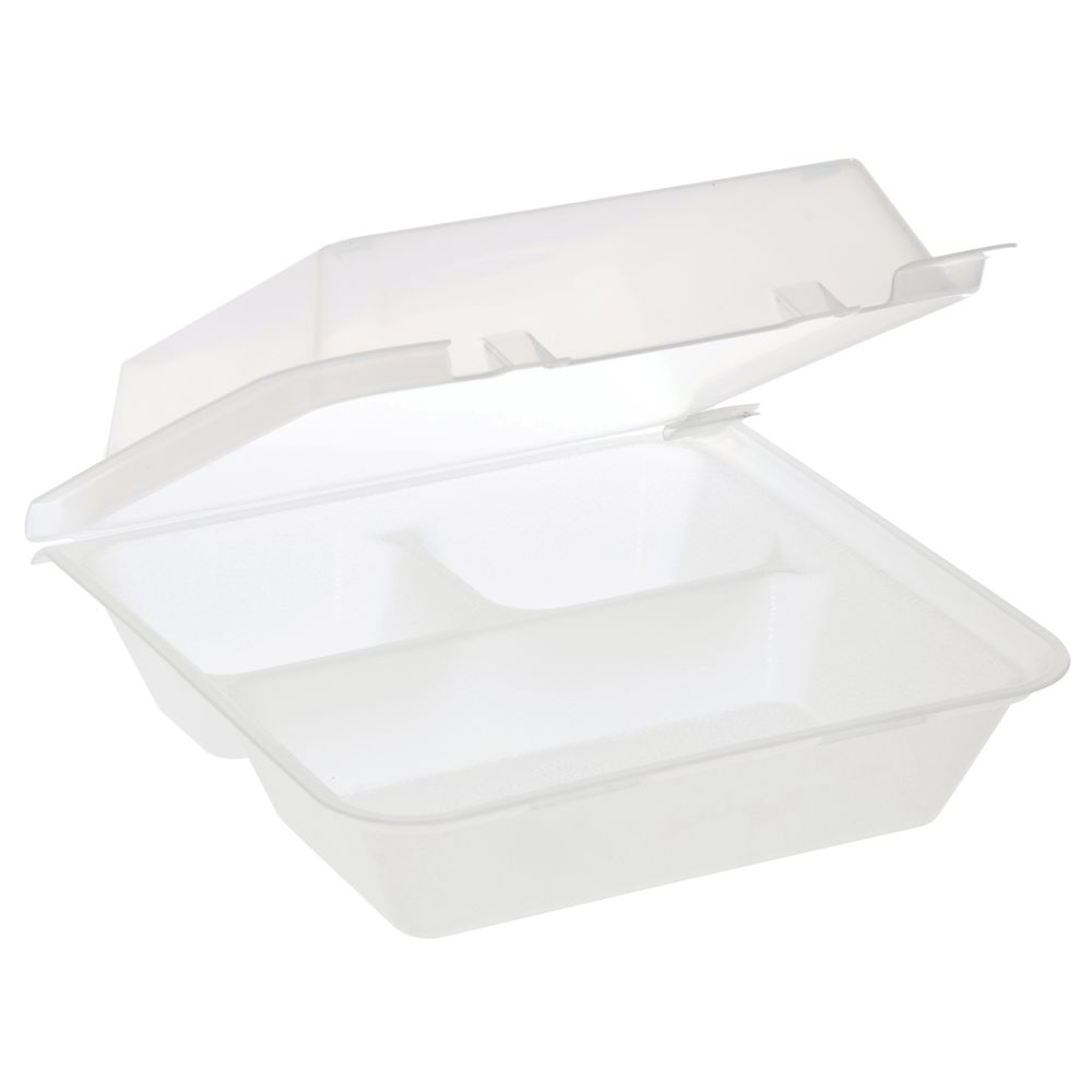 CONTAINER, ECOTAKEOUT, 3COMP, 9X9X3.5, CLR