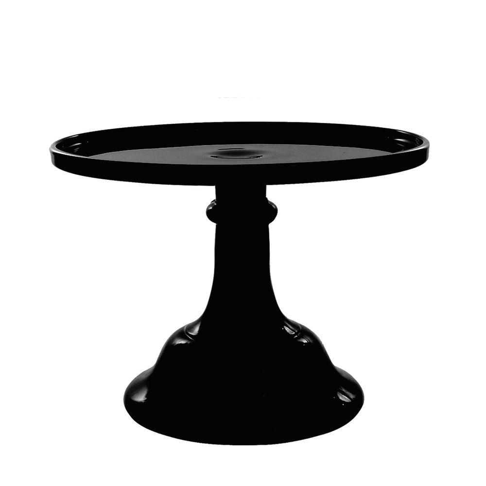 CAKE STAND, GLASS, 6DIA X 5.5H, BLACK RASPB