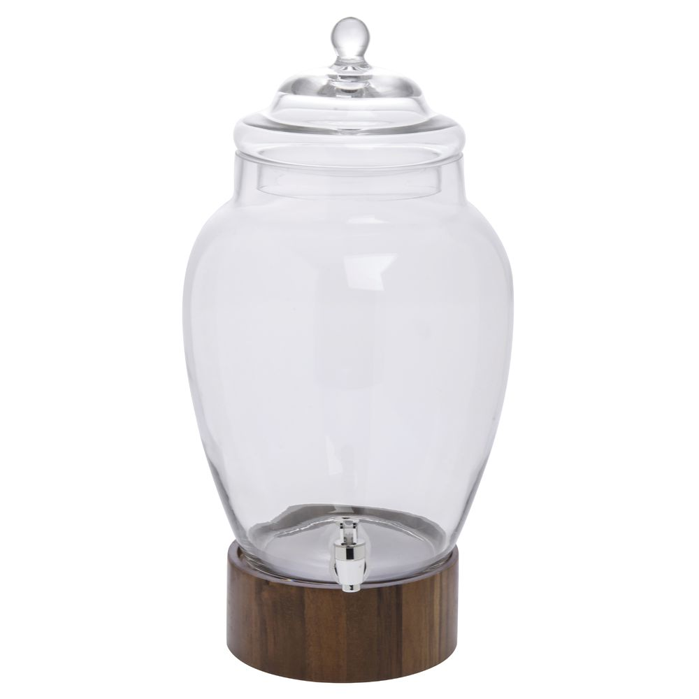 Madera Glass Jar Beverage Dispenser With Wood Base 3 Gal