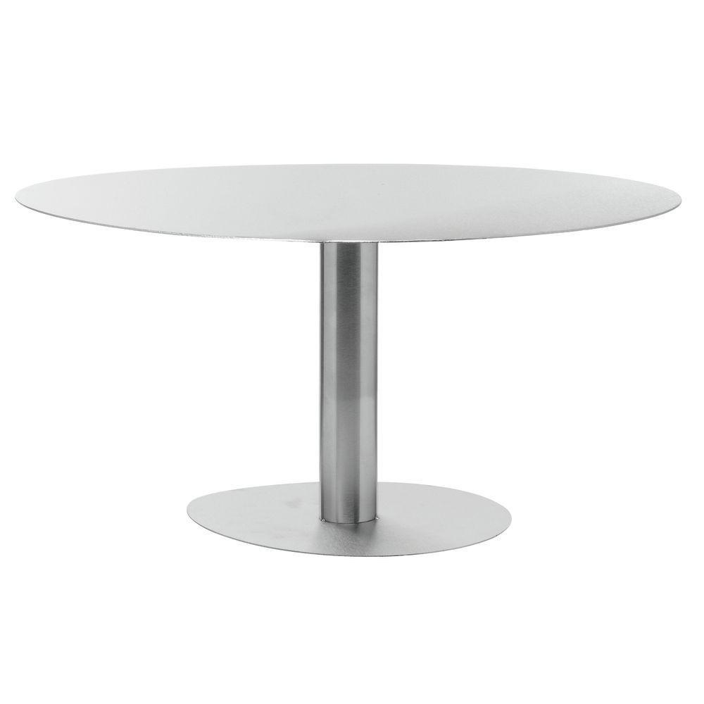 "Round Metal Pedestal 16"" dia x 8""H Stainless Steel"