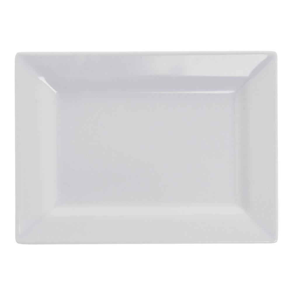 Elite Global Solutions Vogue Rectangular White Melamine Plate 7L x 5 1/2W 6/Cs