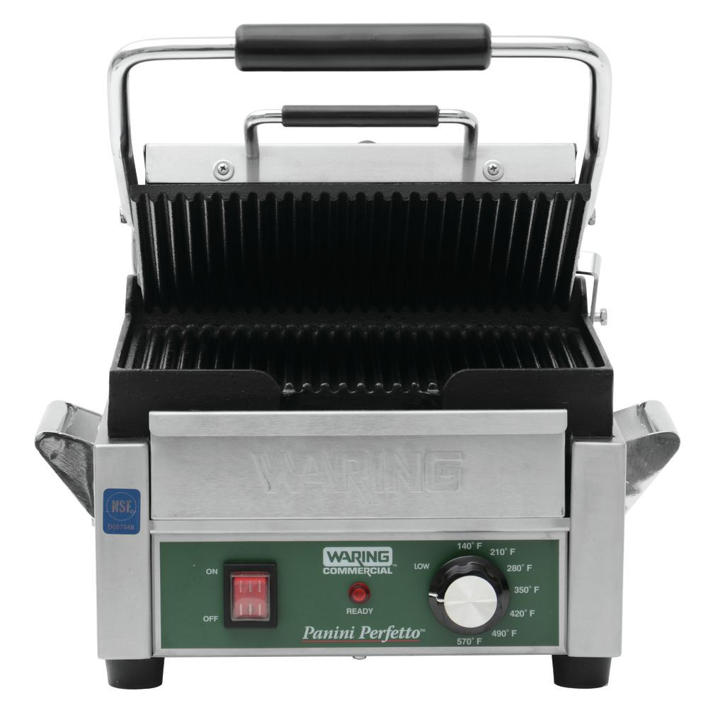 GRILL, PANINI, GROOVED, 120V, SINGLE, US
