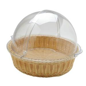 BASKET W/LINER, RATTAN, W/ROLLTOP COVER