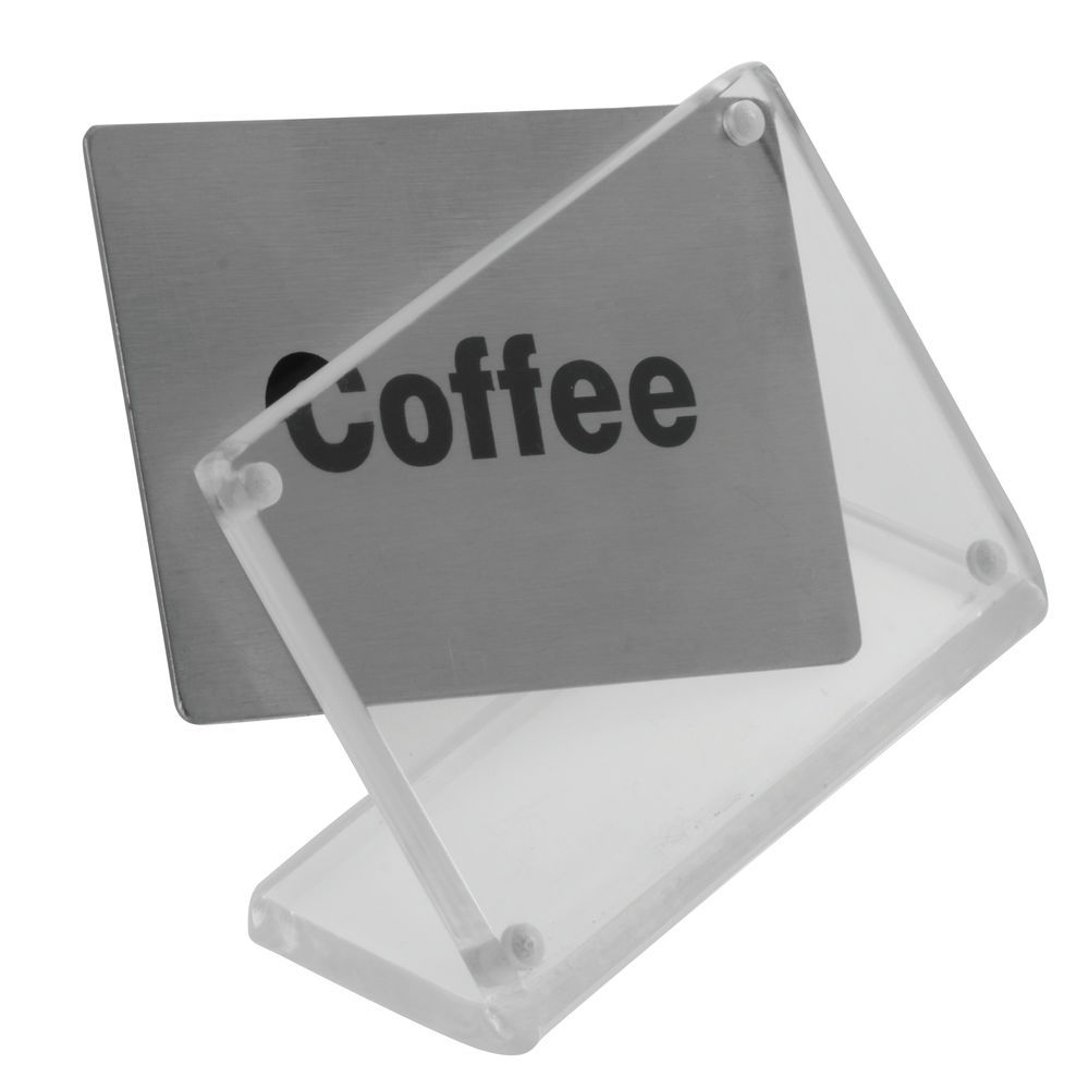 SIGN, COFFEE, ACRYLIC, W/STAINLESS