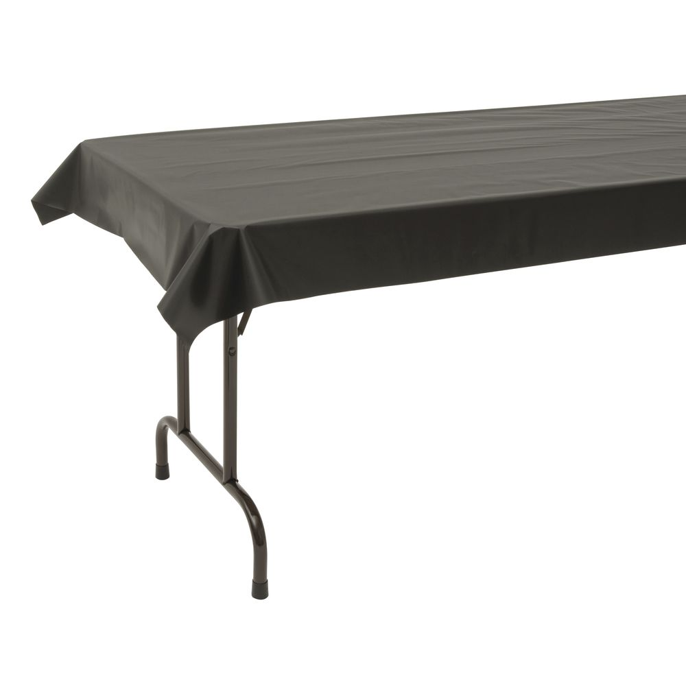 225 & Table Mate Black Plastic Disposable Table Cover - 40\