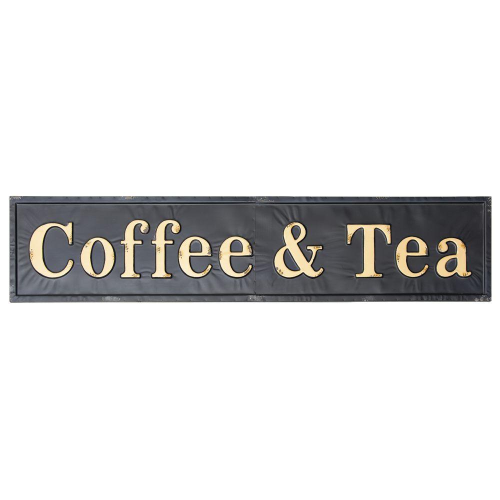 SIGN, METAL, EMBOSSED, COFFEE+TEA