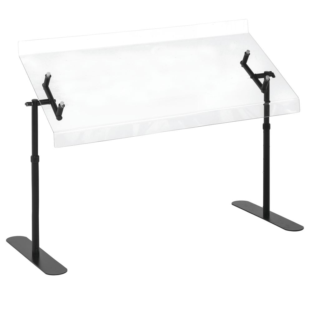 "Cal-Mil Adjustable Sneezeguard 30""L Height From 14"" To 20"" Black Metal Frame"