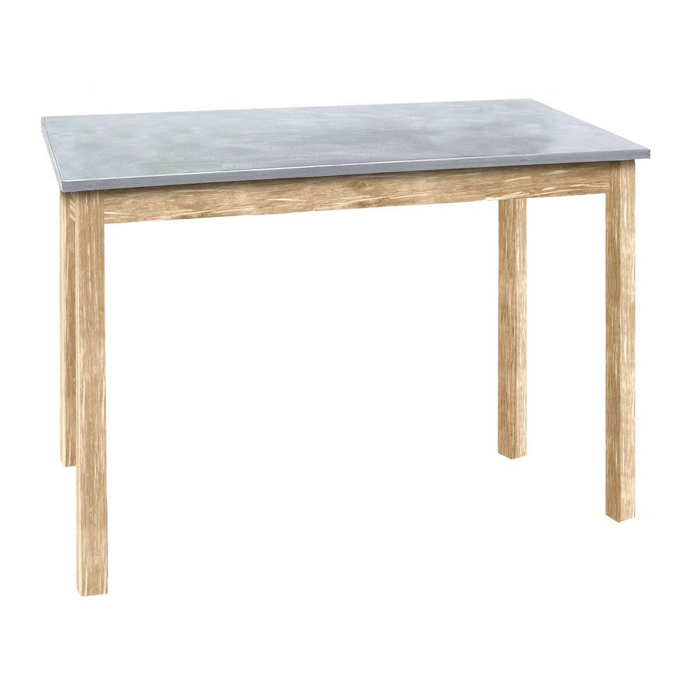 TABLE, GALV.TOP, LIGHT OAK, 34WX20LX27-1/4H