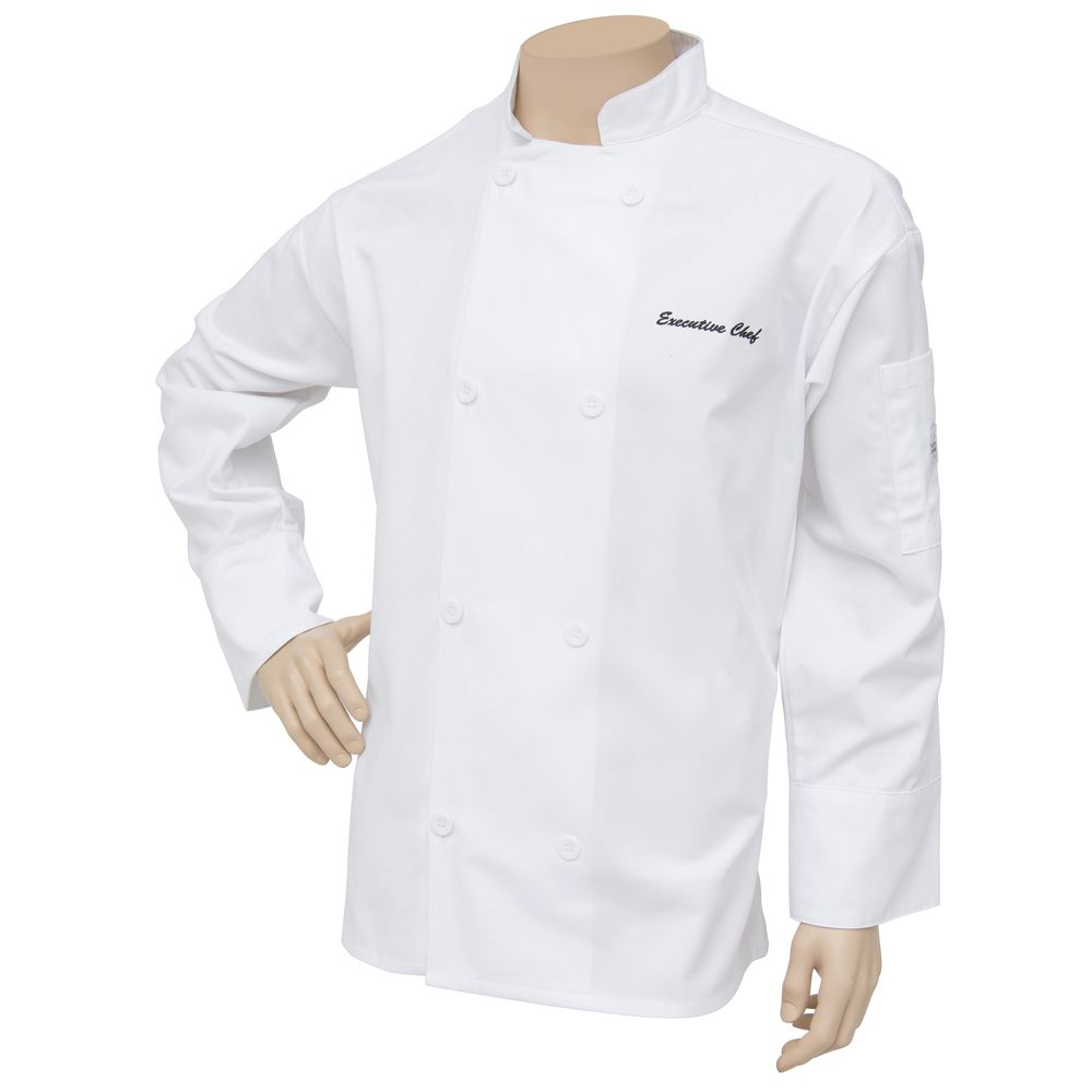 COAT, CHEF, MIL AIR, WHITE, EMBROIDERED, LG