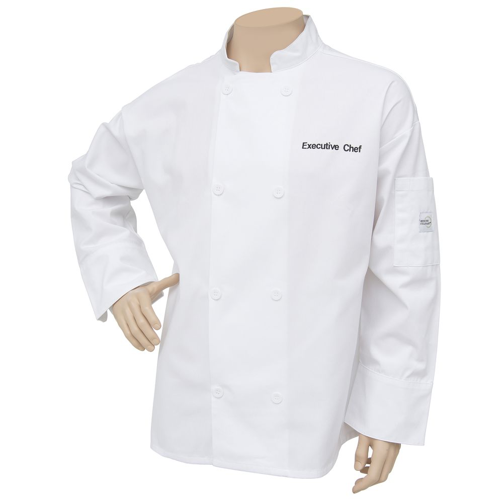 Mercer Culinary Millennia Air™ White Poly Cotton Embroidered Unisex Chef  Coat - Large
