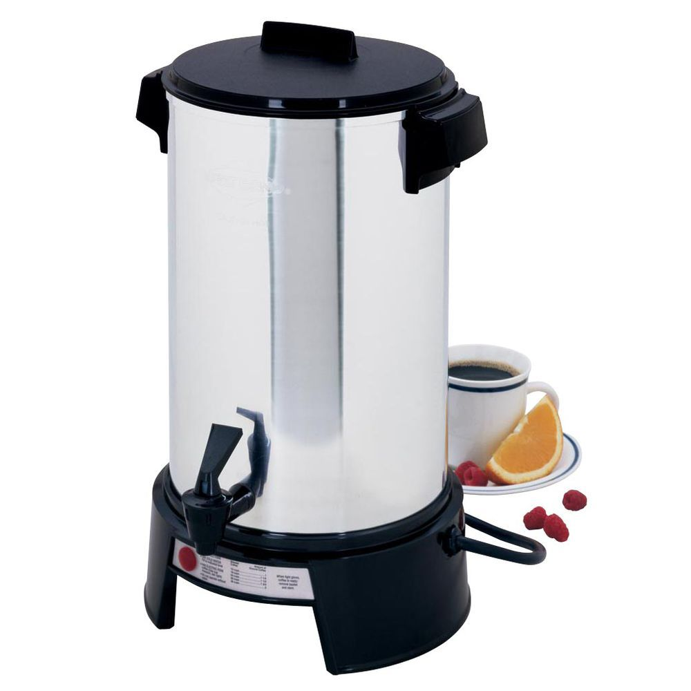 West Bend 36 Cup Polished Aluminum Classic Urns Coffee Maker 11 13 16 Dia X 17 5 1 16 H