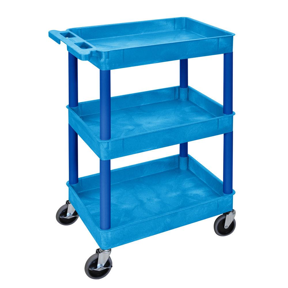 Luxor Blue Plastic 3-Shelf Tub Cart - 24L x 18W x 39 1/4H