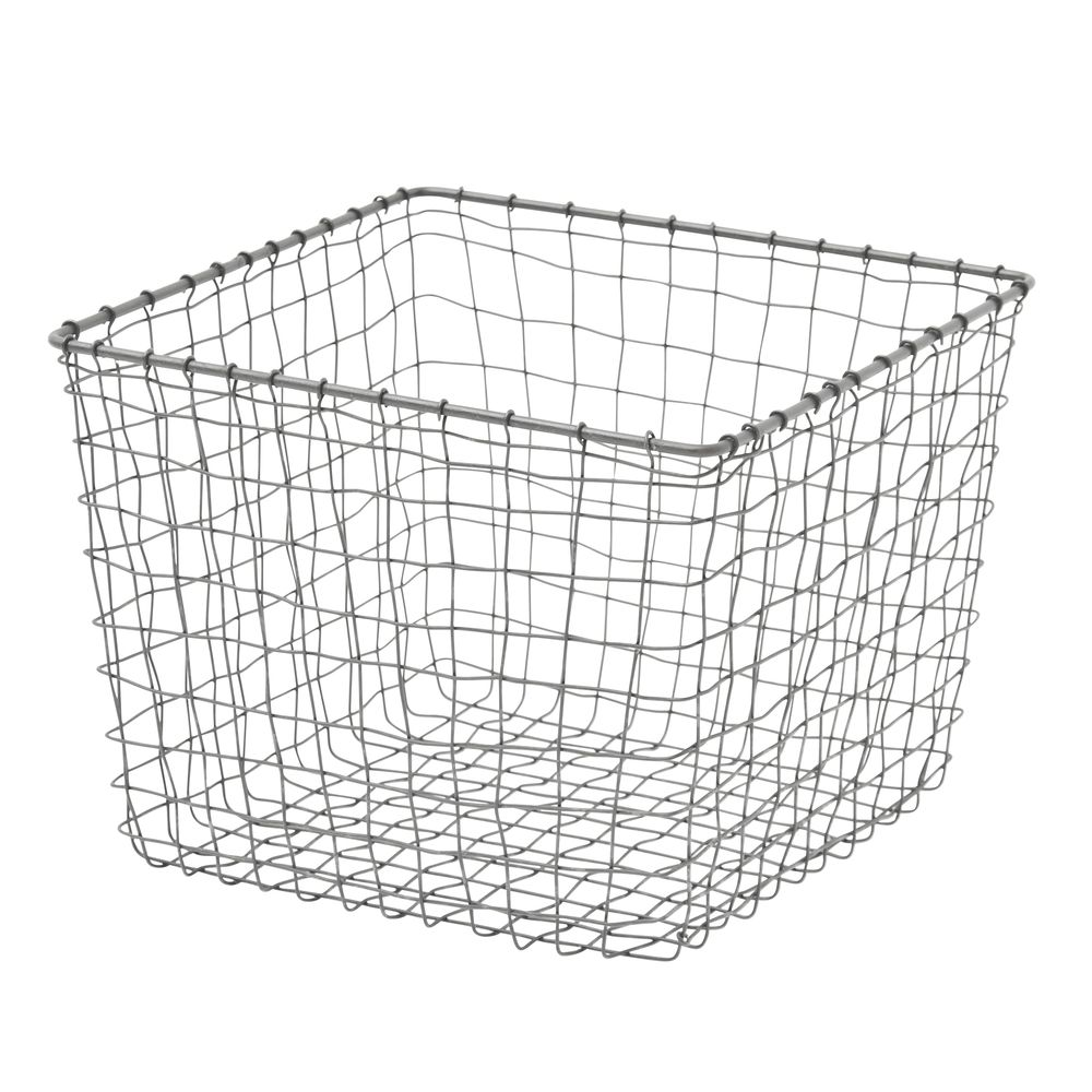 Square Rustic Iron Wire Basket - 11L x 11W x 8 1/2H