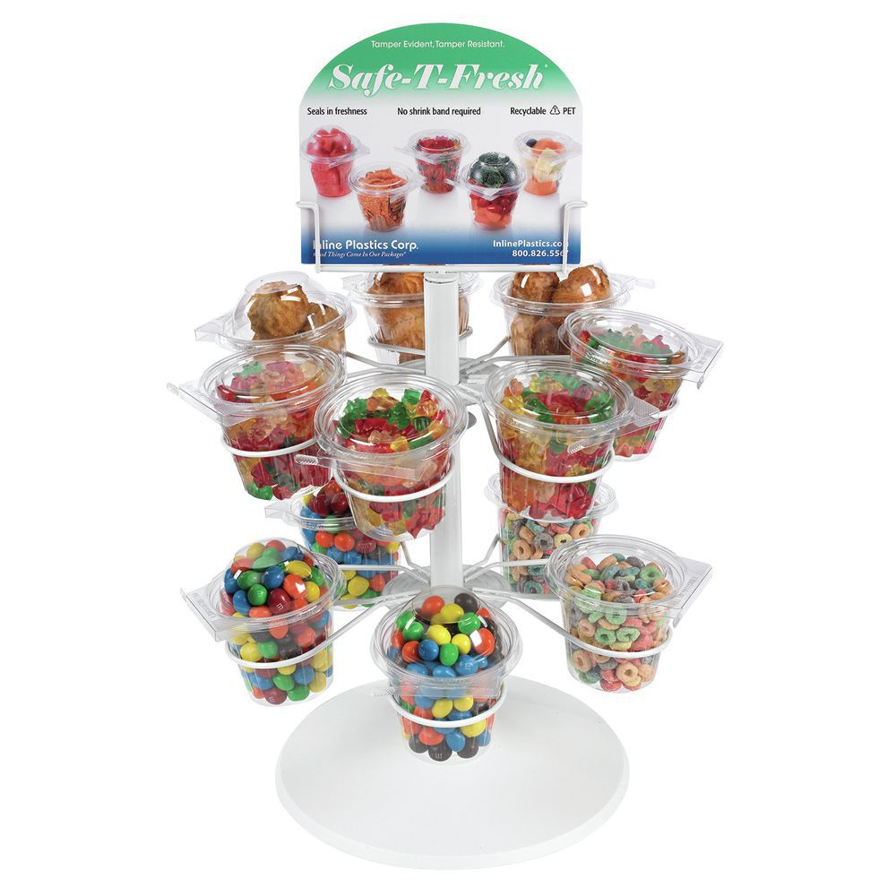 Safe-T-Fresh®White Wire Countertop Snack Cup Display Rack - 14\