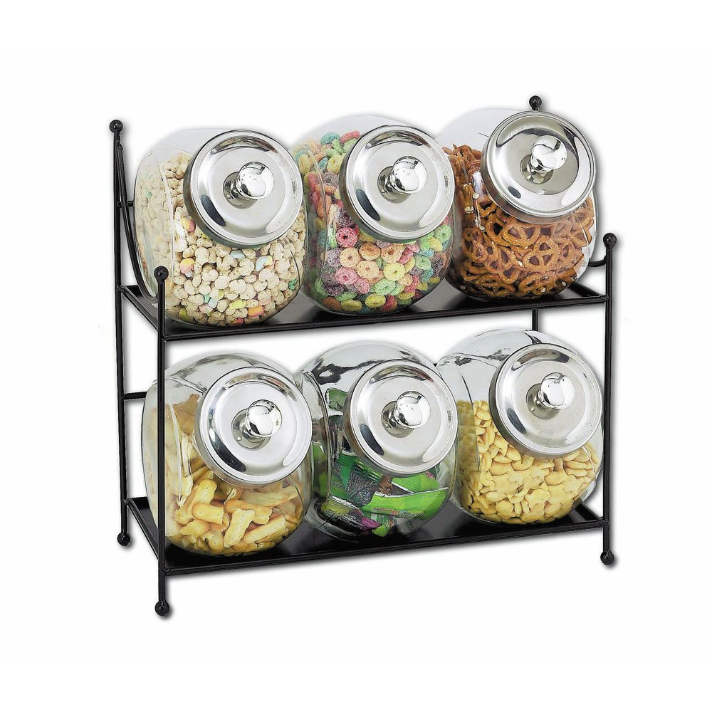 JARS, 6 GLASS W/METAL LIDS, 2-TIER RACK