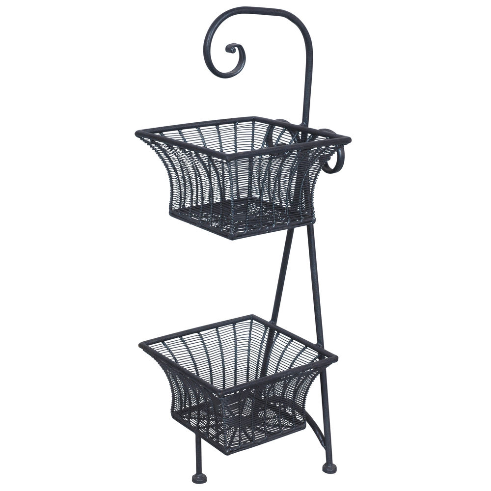 Expressly HUBERT Bella 2-Tier Square Silver Grey Wire Basket Stand ...