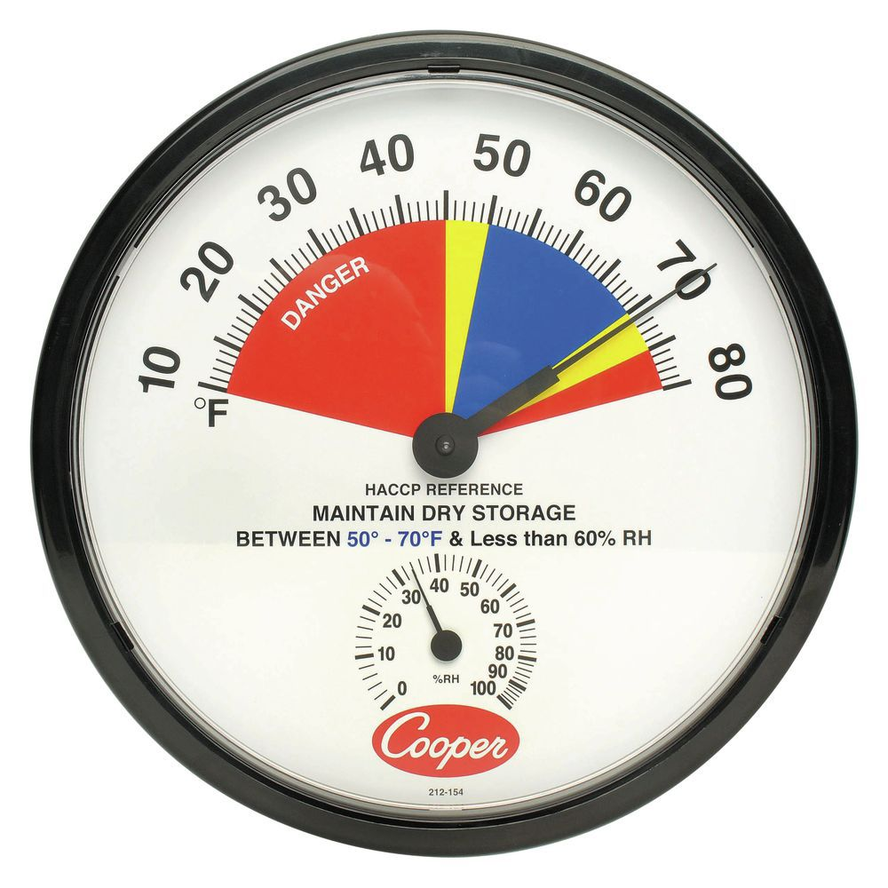 """THERMOMETER, DRY STORAGE, 10/80F 12"""" DIAL"""