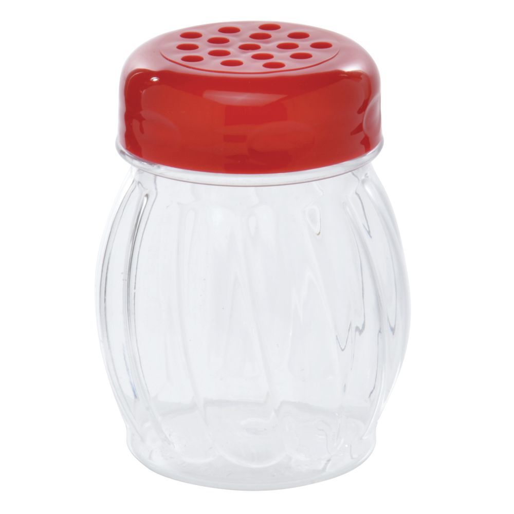 SHAKER, PLSTC, SWIRL, PERF TOP, 6 OZ, RED