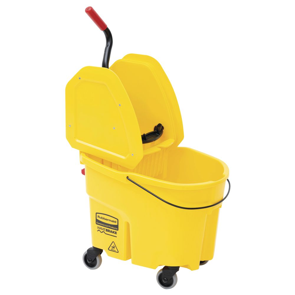 Brown Down Press Rubbermaid Wavebrake Mop Bucket//Wringer Combo 35 Qt
