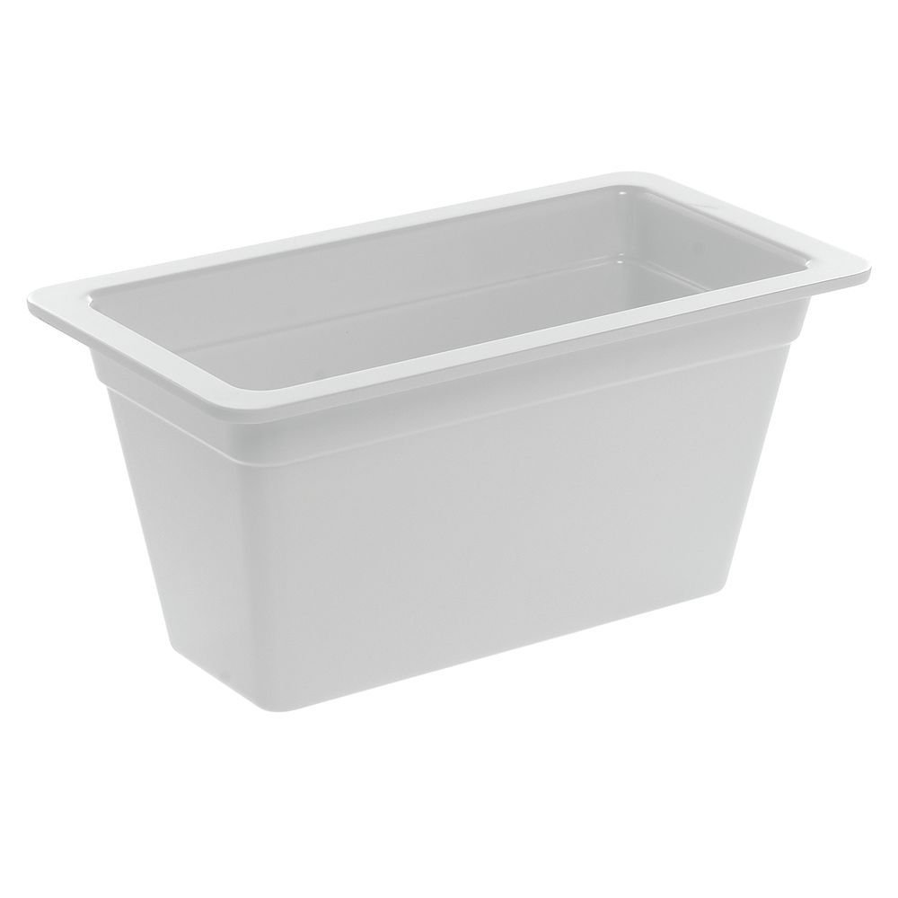 "Cold Food Pan in White Melamine Third Size 12 1/2""L x 6 3/4""W x 6""H"