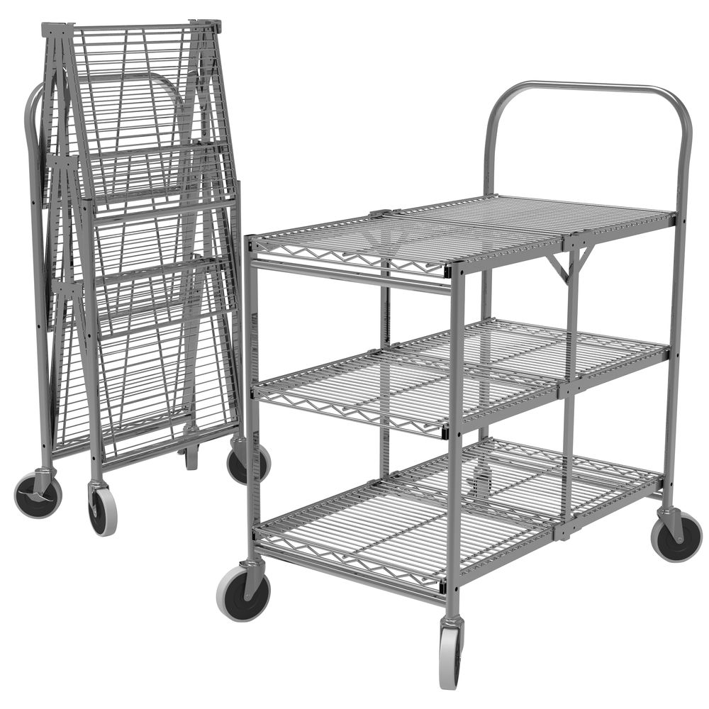 Luxor Chrome Steel 3-Shelf Collapsible Wire Utility Cart - 33 3/4L x ...