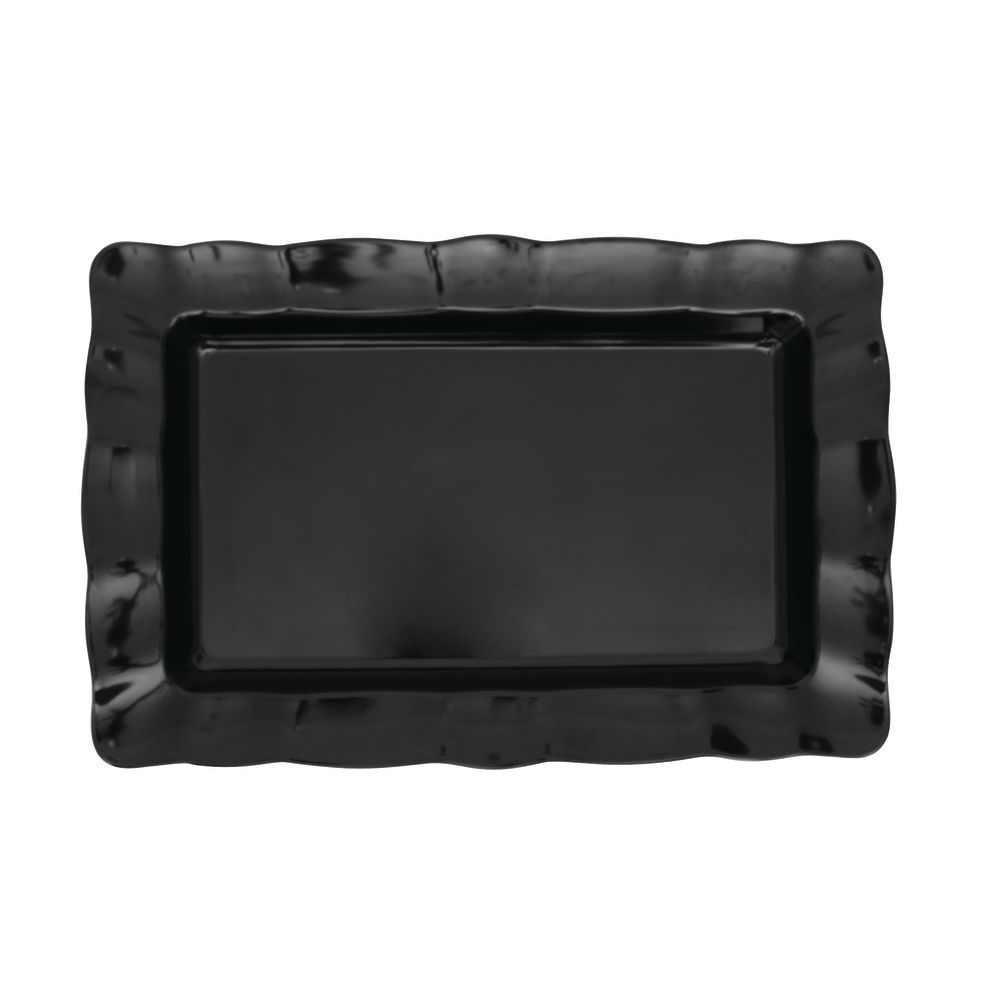 TRAY, SCALLOPED, BLACK, SM, RECT, 19.5X13