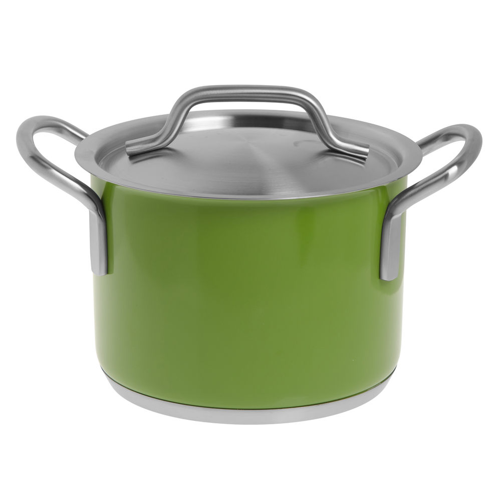 SAUCEPOT, SS, SINGLE PLY W/LID, GREEN, 4.4L