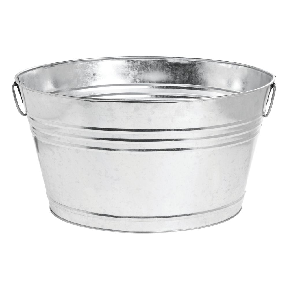 American Metalcraft 25 Qt Oval Galvanized Metal Party Tub - 20