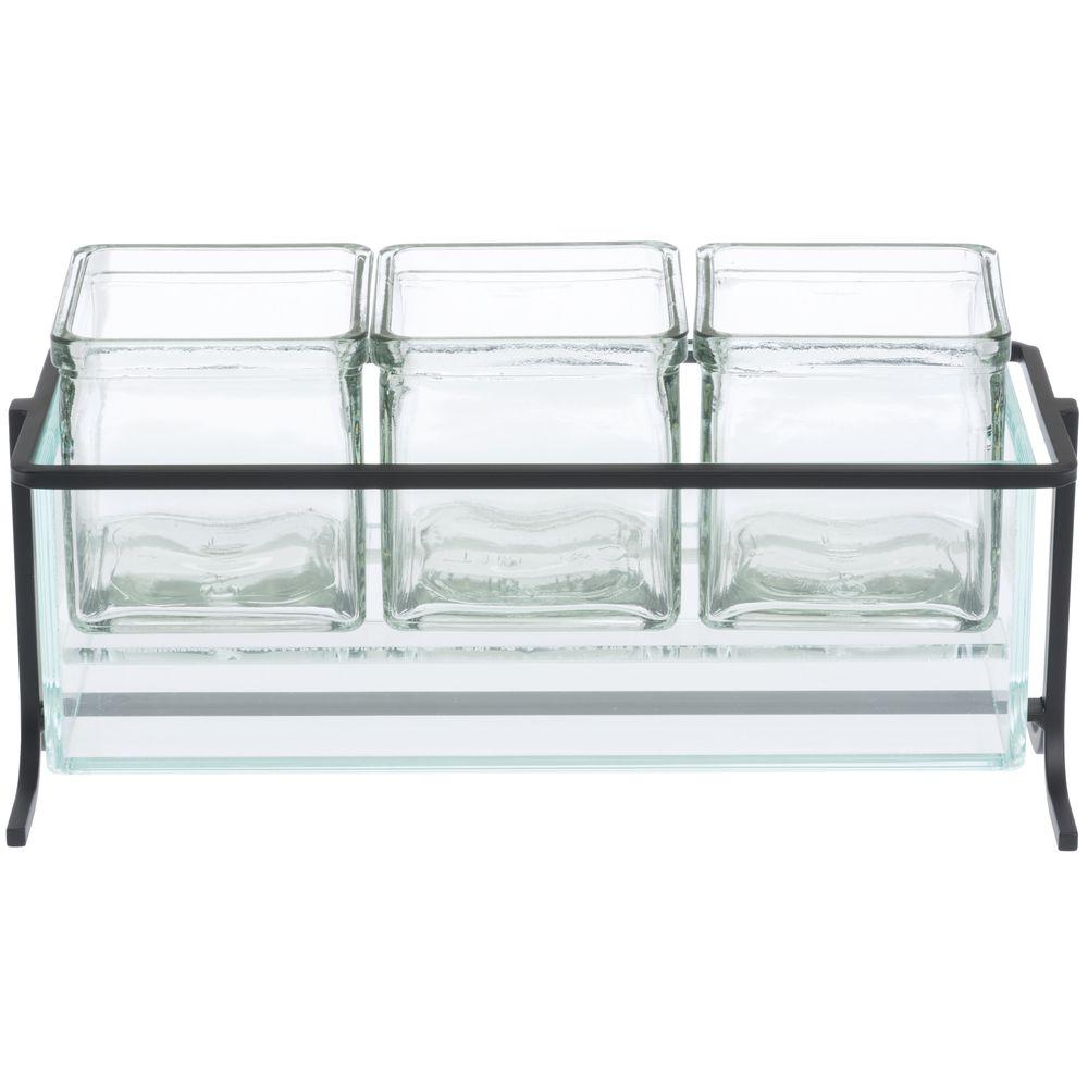 "Cal-Mil Short Chilled Condiment Dispenser 13 1/4""L x 5""W x 5""H Glass Jars Black Wire Frame"