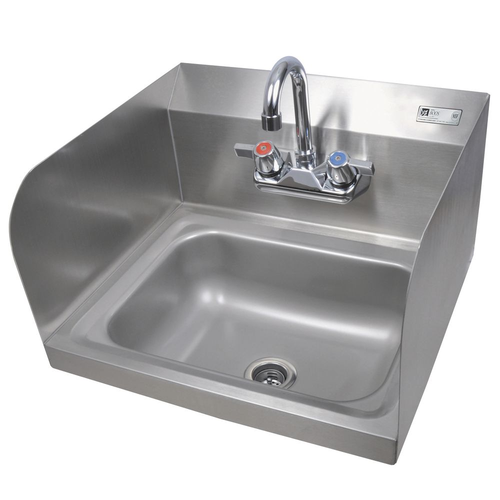John Boos Stainless Steel Hand Sink With Faucet And Two Side Splash 14 L X 10 W X 5 H
